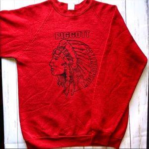 VINTAGE Varsity Sweatshirt Mohawks Large Red